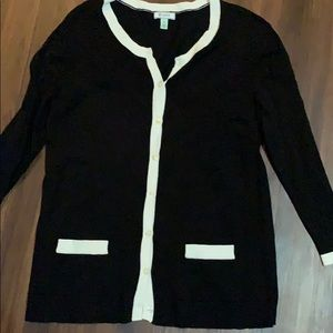Susina Sweaters - Susina Black and white trimmed cardigan